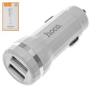 Автомобільний зарядний пристрій Hoco Z27, 2 USB виходи 5В 2,4А , біле, з micro USB кабелем тип В