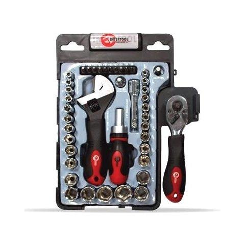 Набір торцевих головок і біт з тріскачкою і розвідним ключем INTERTOOL ET 6003